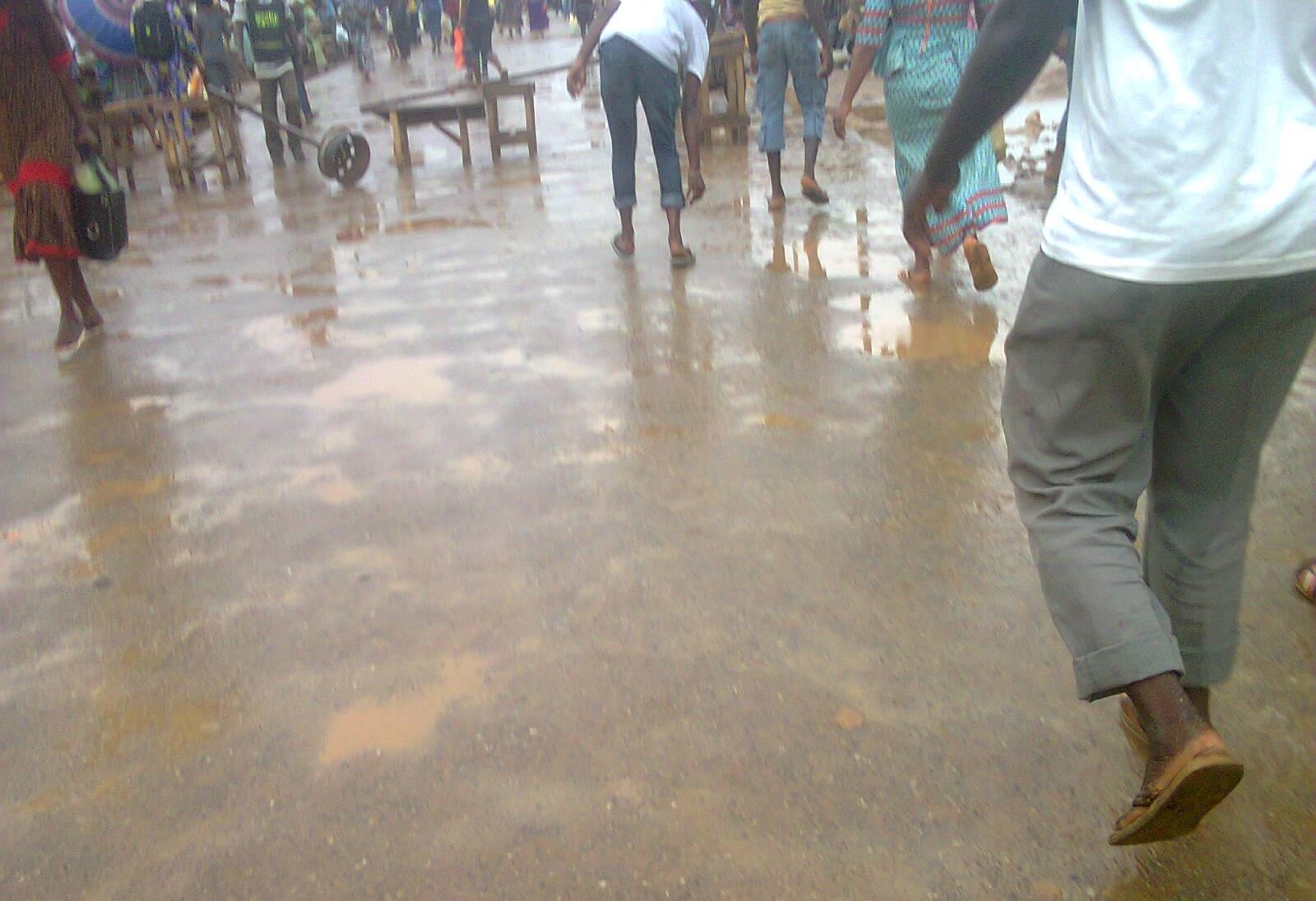 Igando commuters running around the scene of the incident